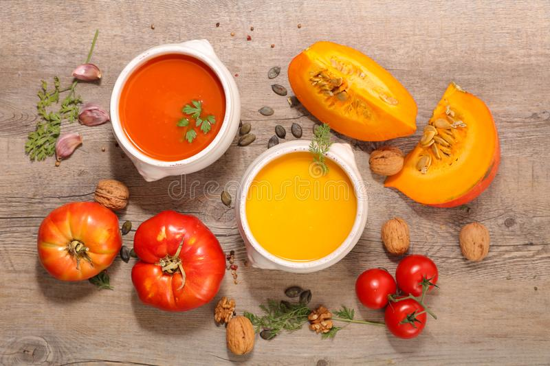 Tomato and carrot soup stock photo