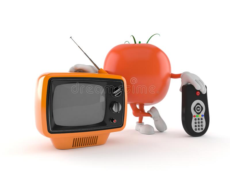 Tomato character with tv set and remote. Isolated on white background. 3d illustration stock illustration