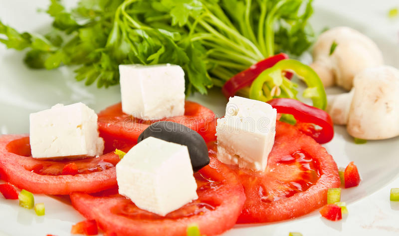 Tomato and cheese salad royalty free stock photos