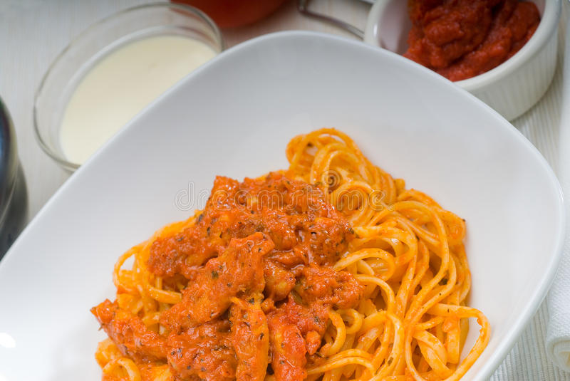 Download Tomato and chicken pasta stock image. Image of close - 17995975