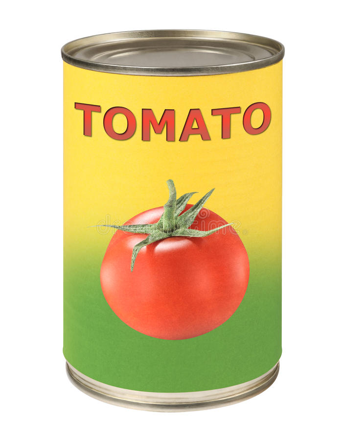 Tomato conserve. Tomato food tin can conserve royalty free stock photo
