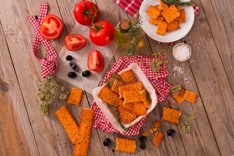 Tomato crackers. royalty free stock photography