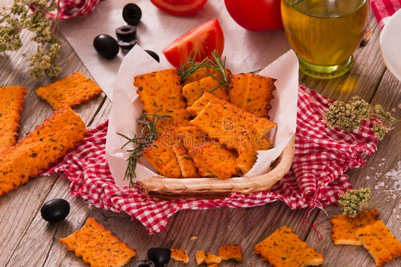 Tomato crackers. stock images