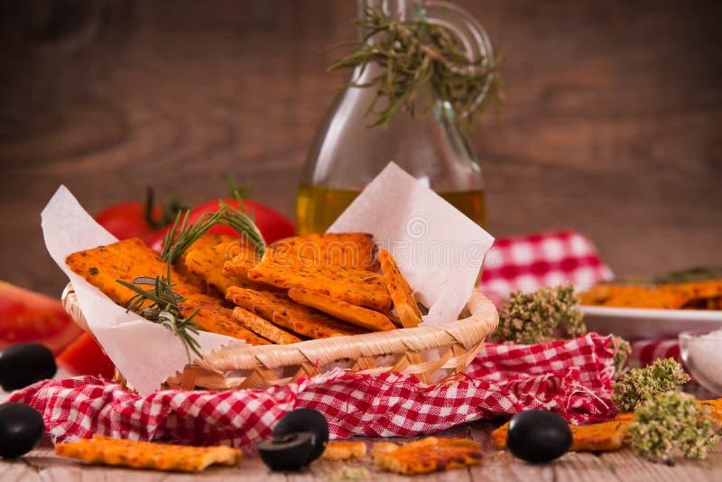 Tomato crackers. stock photos