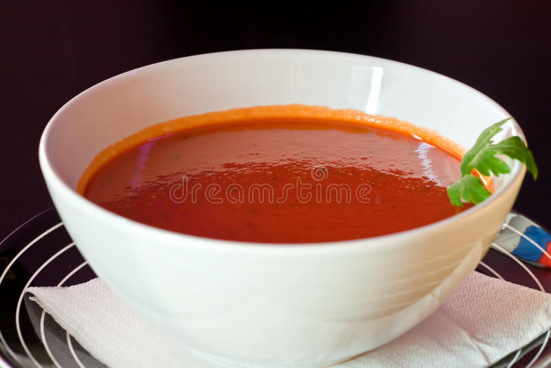 Tomato cream soup royalty free stock photos