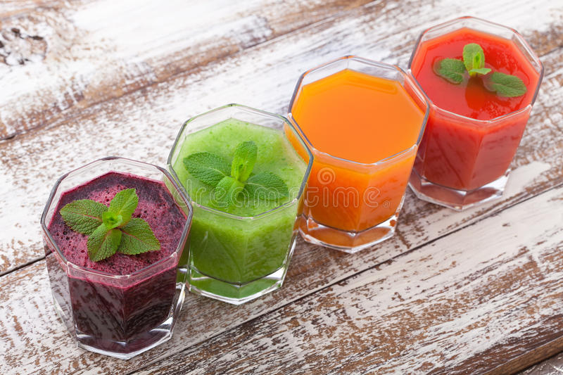 Tomato, cucumber, carrot, beet Juice and vegetables stock photo