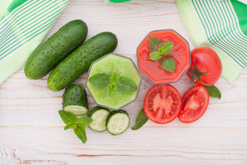 Tomato, cucumber Juice and vegetables royalty free stock photo