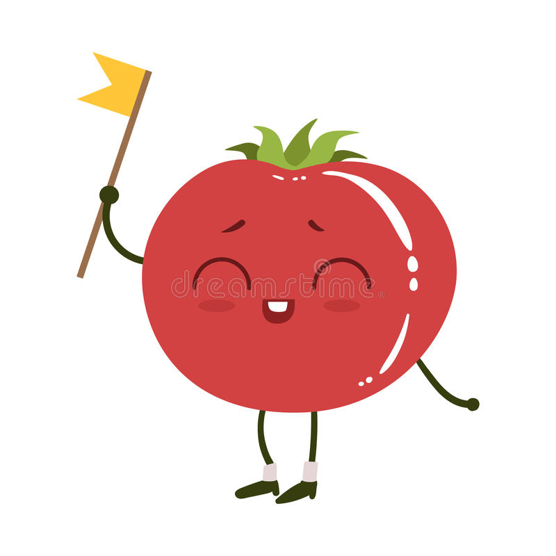 Tomato Cute Anime Humanized Smiling Cartoon Vegetable Food Character Emoji Vector Illustration. Funny Product With Arms And Legs Childish Design Isolated Icon royalty free illustration