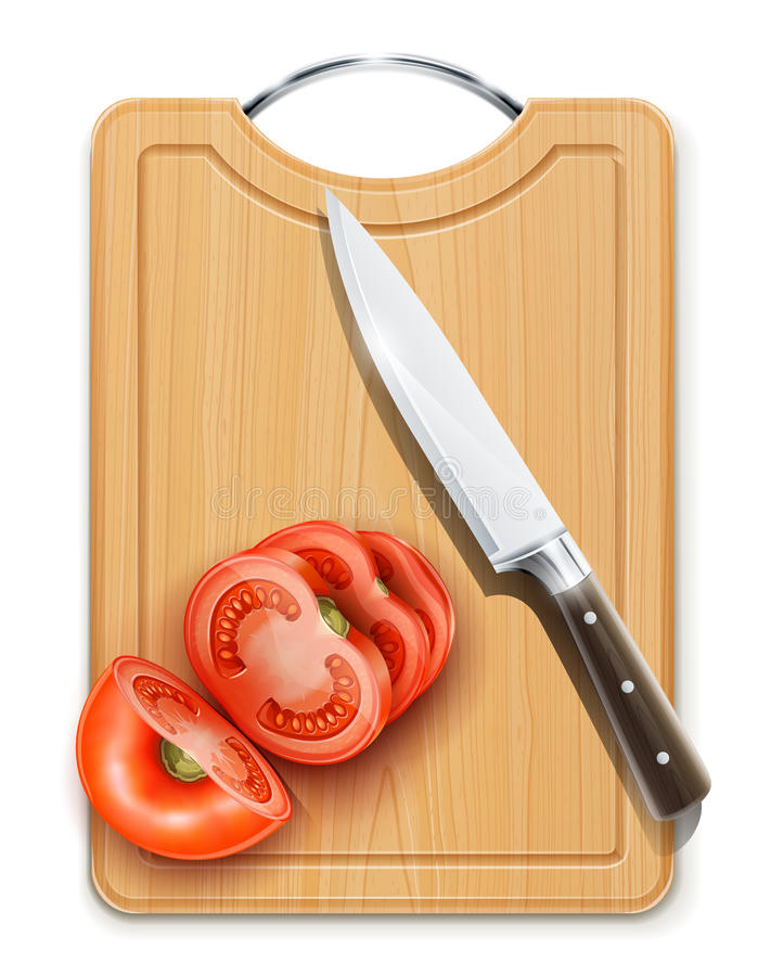 Free Tomato Cuted Segment With Knife On Hardboard Royalty Free Stock Photos - 23375948