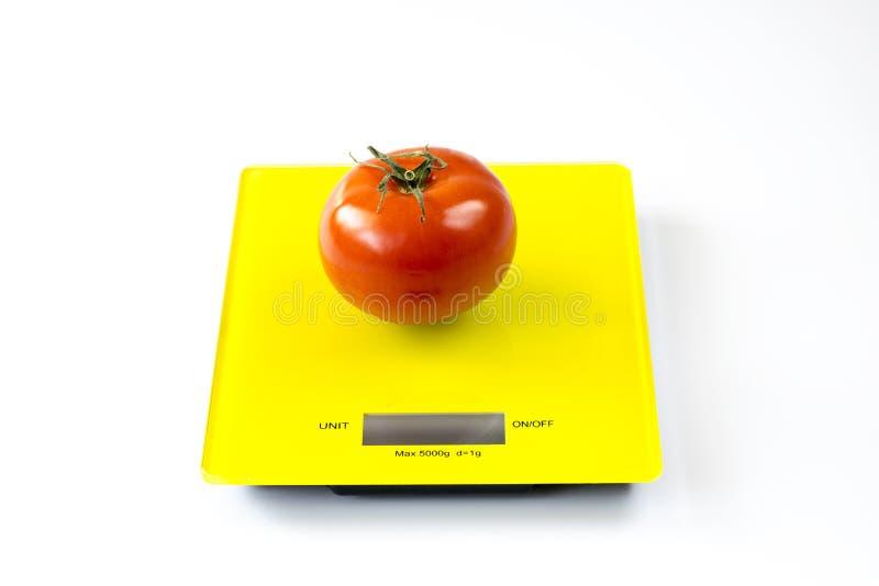 Tomato on Digital Scale stock photo