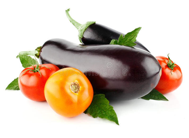 Tomato and eggplant vegetable fruits isolated stock photo