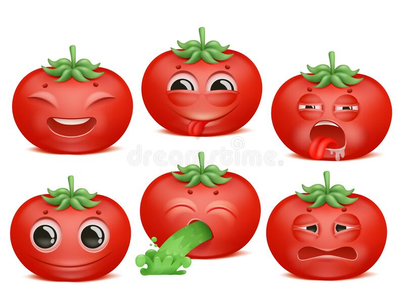Tomato emoji cartoon character set. Various emotions. Joy, disgust, boredom, disappointment Vomiting. Vector collection vector illustration