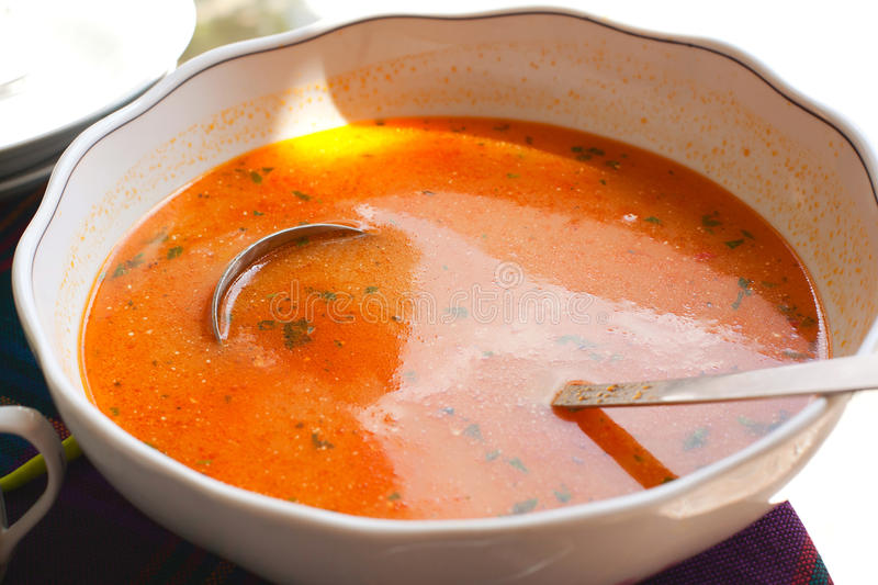 Tomato fish soup royalty free stock photography