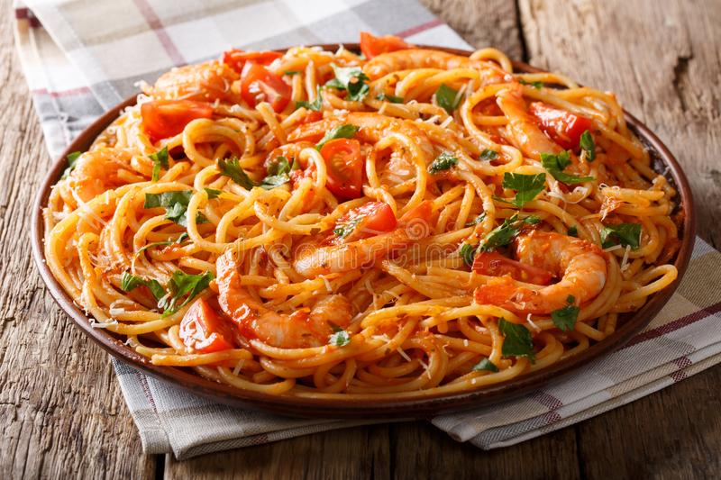Tomato Fra Diavolo Sauce, Seafood and Pasta spaghetti close-up. royalty free stock images