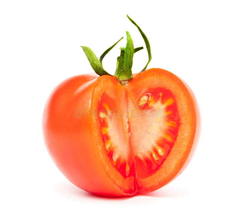 Tomato - fresh and sliced. Isolated on white stock photography
