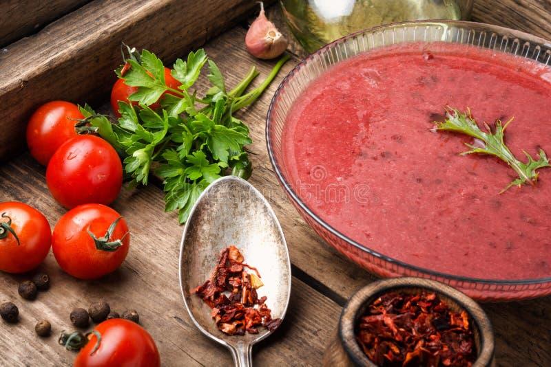 Tomato gazpacho soup stock photos