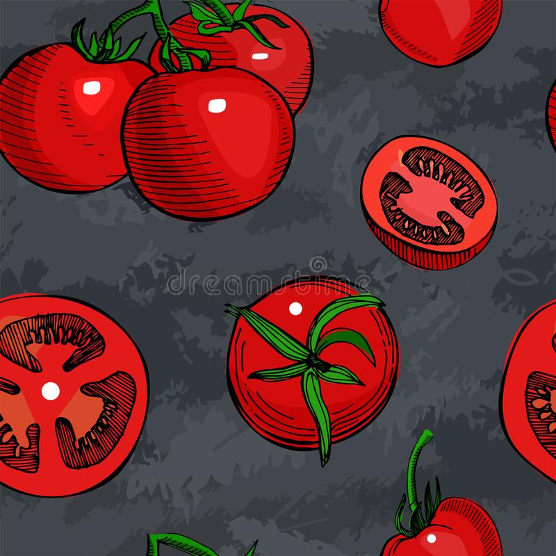 Tomato hand drawn vector seamless pattern.Detailed retro style sketch.Vintage ink tomato, isolated on grunge slate. Tomato hand drawn seamless pattern.Vintage vector illustration