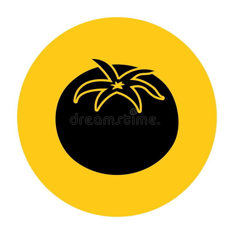 Tomato icon. Icon from the set. Black silhouette on bright yellow background. Vector vector illustration