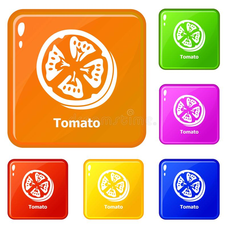 Tomato icons set vector color royalty free illustration