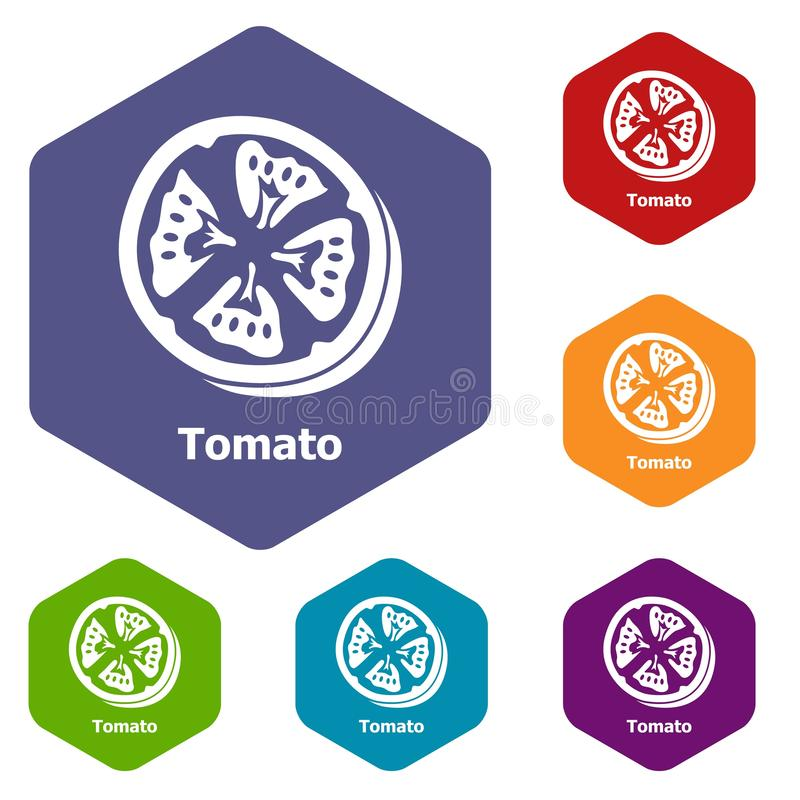 Tomato icons vector hexahedron royalty free illustration