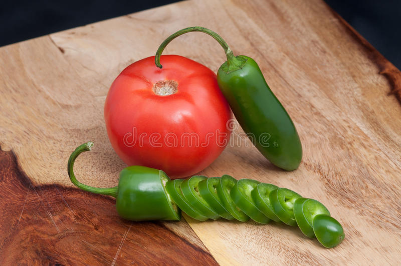 Tomato and Jalapeno stock image