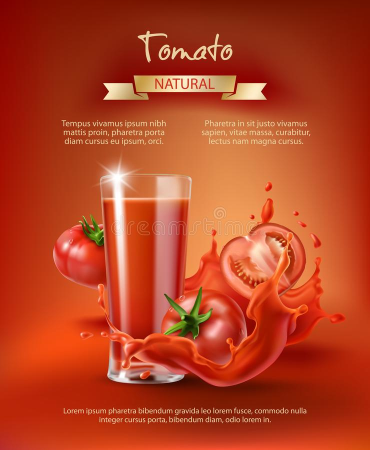 Tomato juice ad, vector. Tomato juice ad, drinking glass with juice, whole and sliced tomatoes in a splash, realistic vector illustration on red background. Mock vector illustration