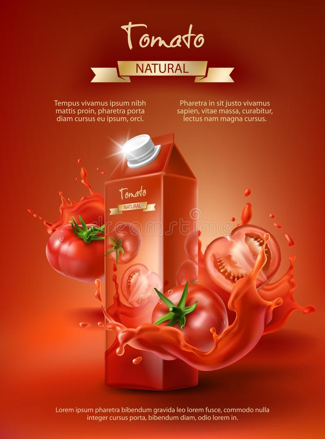 Tomato juice ad, vector. Tomato juice ad, paper box with juice, whole and sliced tomatoes in a splash, realistic vector illustration isolated on red background vector illustration