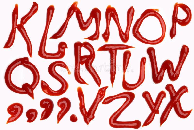Tomato Ketchup Alphabet Stock Photos