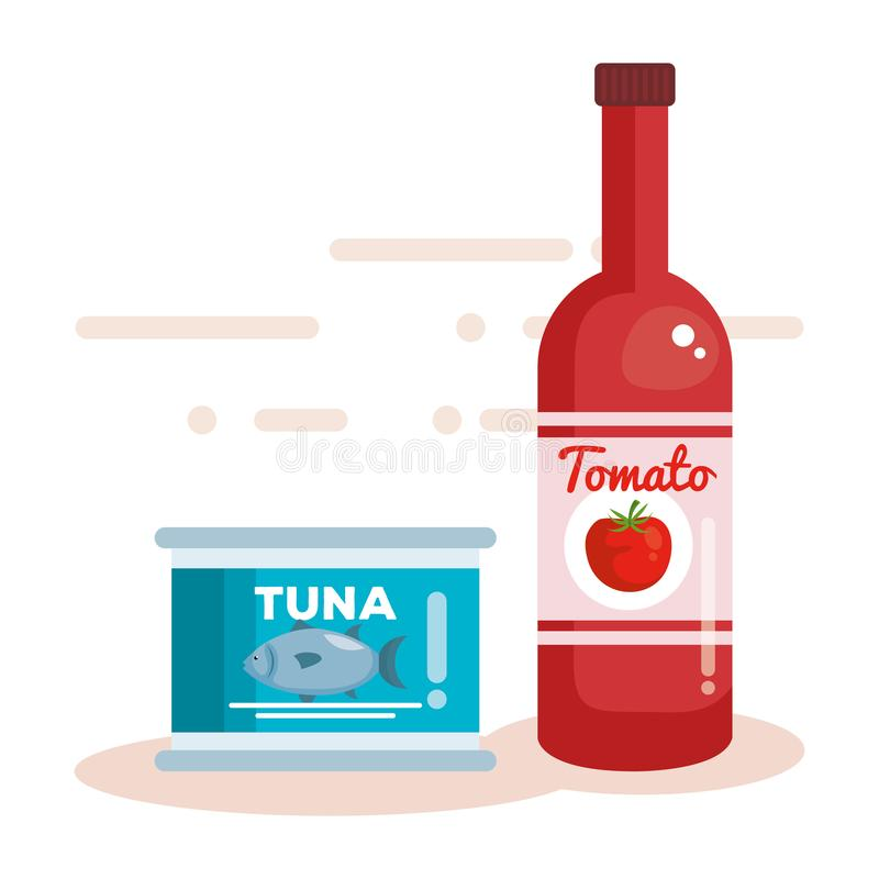 Tomato ketchup bottle with tuna can. Vector illustration design royalty free illustration