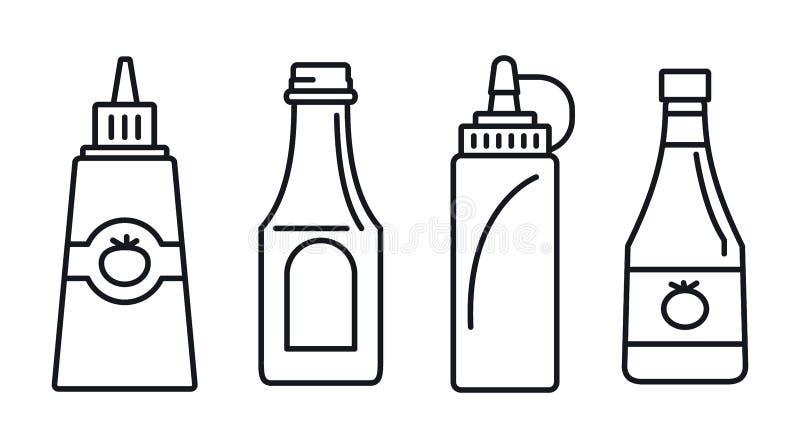 Tomato ketchup icon set, outline style stock illustration