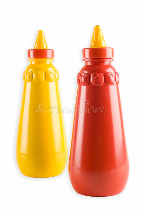 Tomato ketchup and mustard stock photography