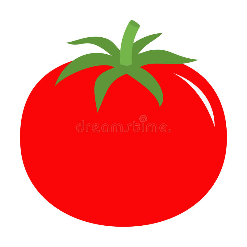 Tomato with leaves icon. Red color. Vegetable collection. Fresh farm healthy food. Education card for kids. Flat design. White bac stock illustration
