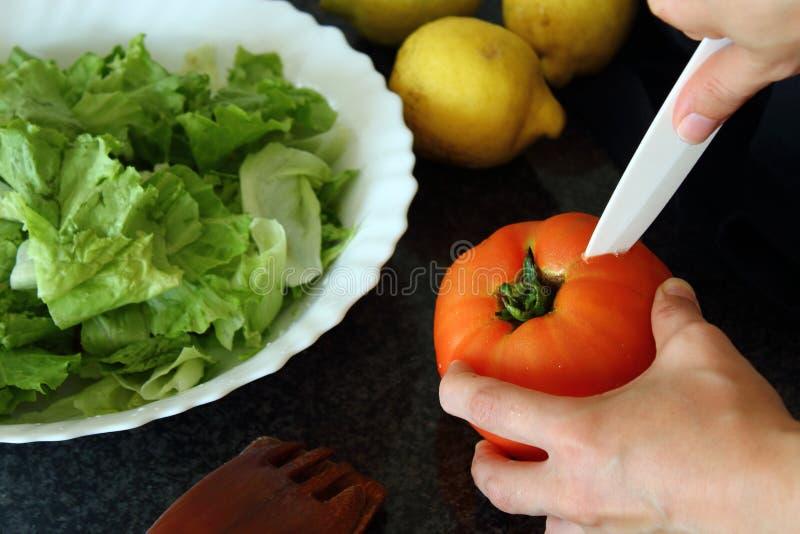 Lettuce, tomato, lemons. royalty free stock photos