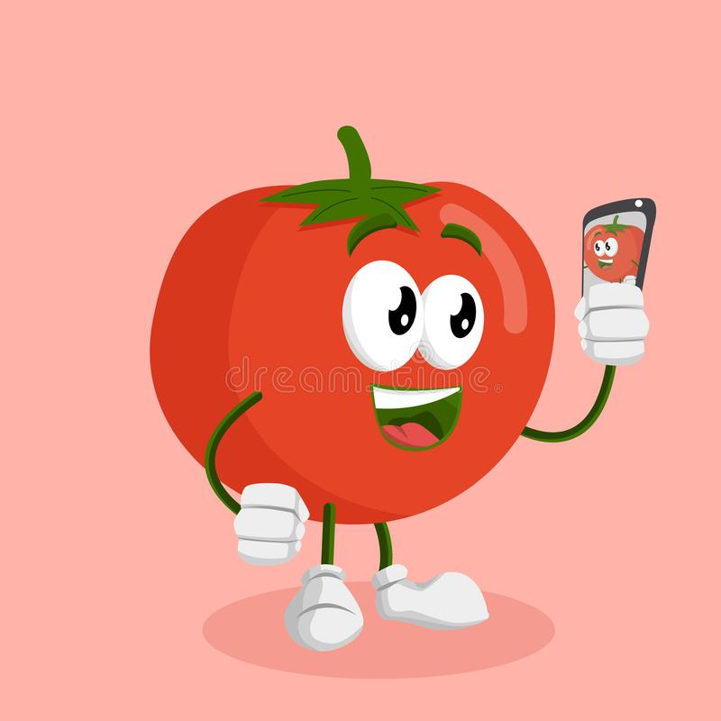 Tomato mascot and background with selfie pose vector illustration