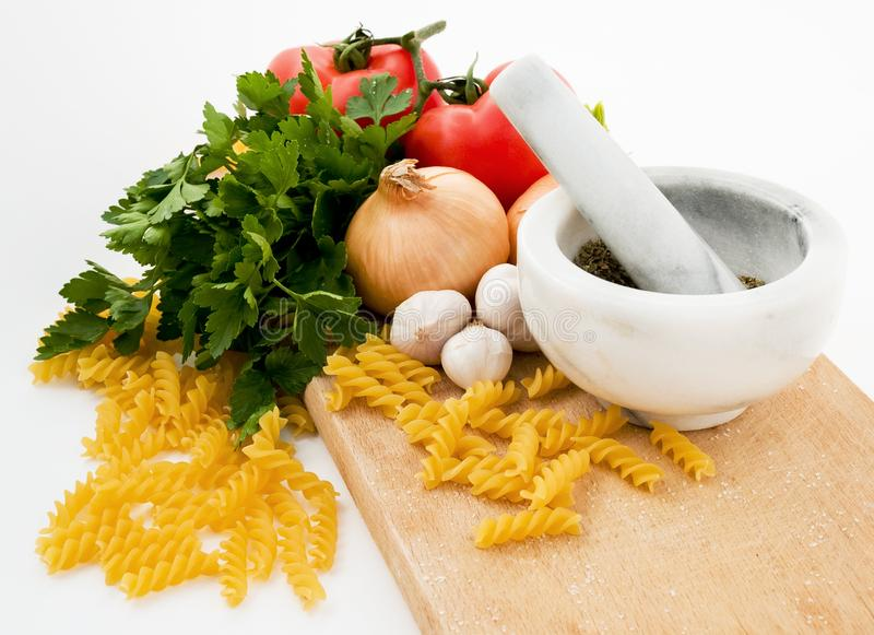 Tomato pasta ingredients stock photos