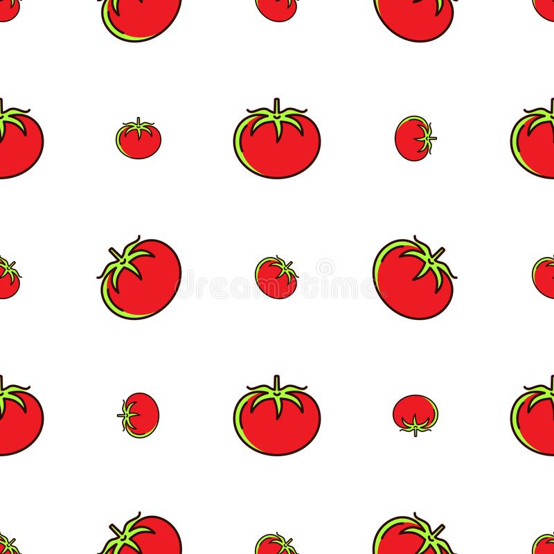 Tomato pattern seamless, Red tomatoes on a white background, Vector thin line icons stock illustration