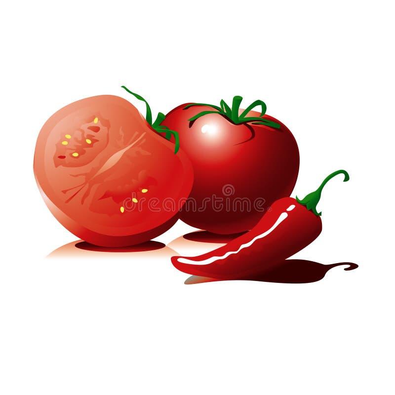Tomato and pepper stock illustration