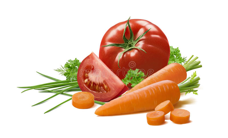 Tomato piece green onion carrot isolated. On white background as package design element stock image