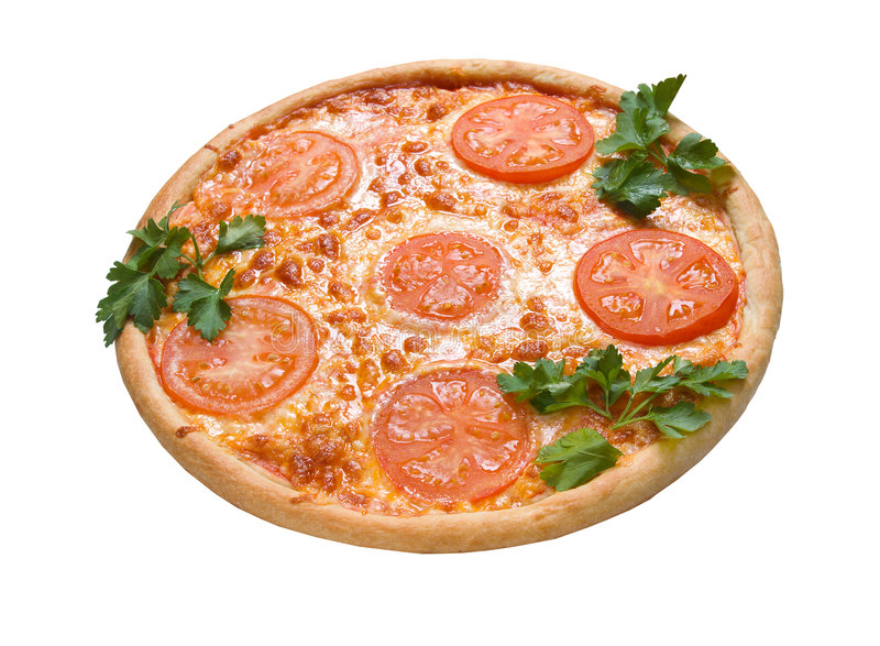 Tomato pizza isolated royalty free stock photography