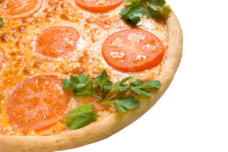 Tomato pizza isolated .Close-up royalty free stock images