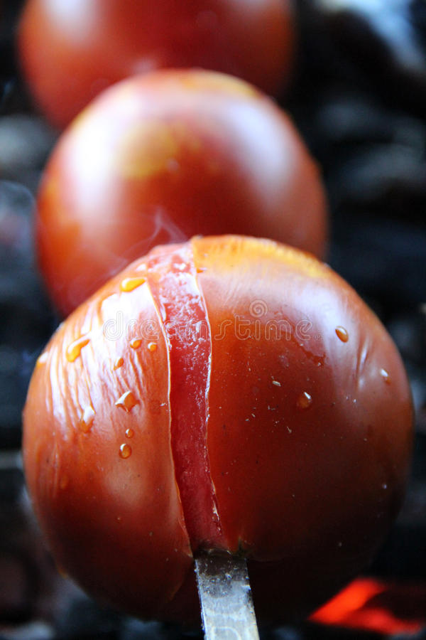 Tomato & Potato. Tasty, delicious, appetizing, healthy. Wood-fired grill vegetables. Barbecued vegetables. Cooked on skewer. royalty free stock photo