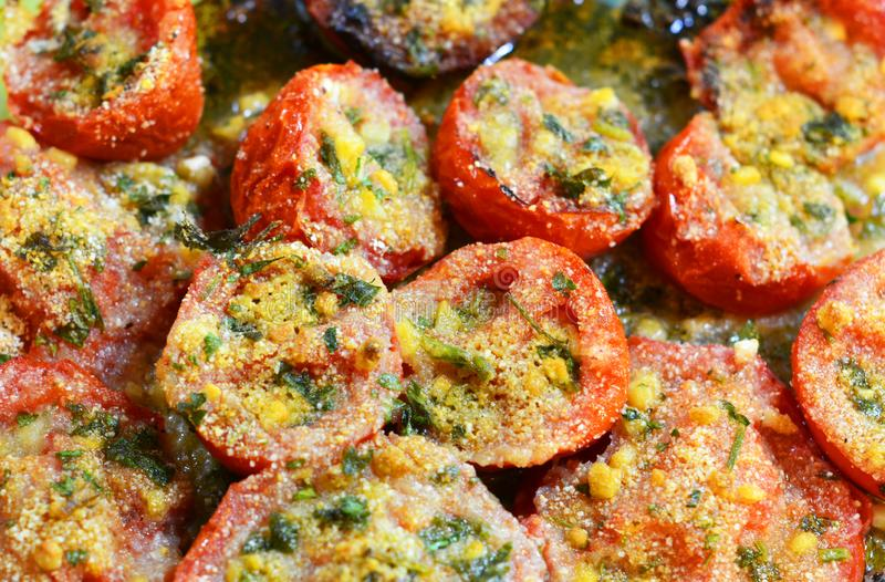 Tomato provencal  - traditional French Provencal vegetable dish cooked in oven. stock image