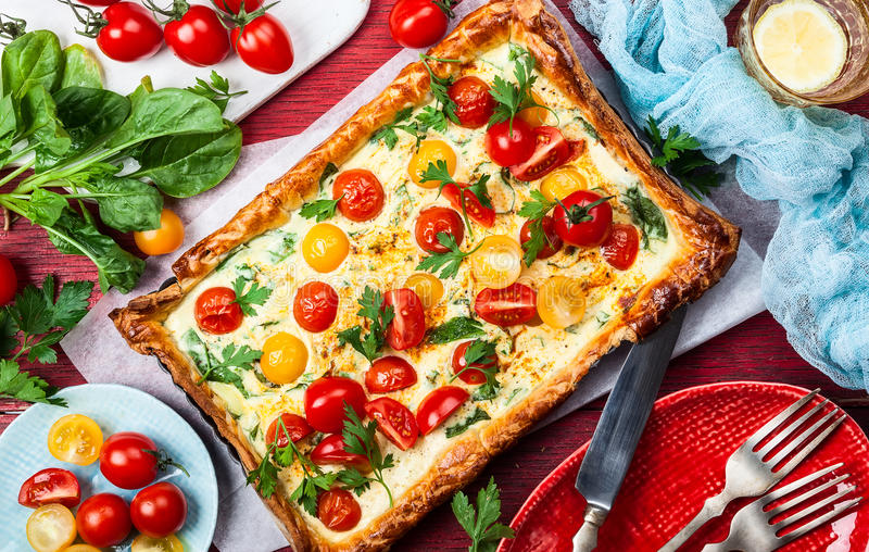 Tomato puff pastry tart stock photography