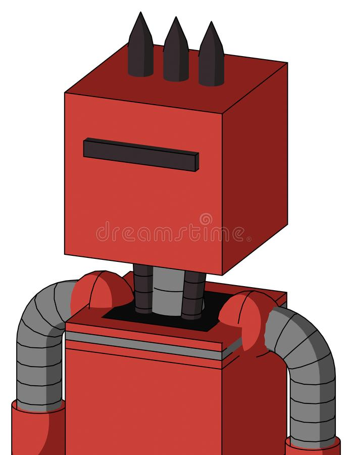 Tomato-Red Droid With Box Head And Black Visor Cyclops And Three Dark Spikes. Portrait style Tomato-Red Droid With Box Head And Black Visor Cyclops And Three vector illustration
