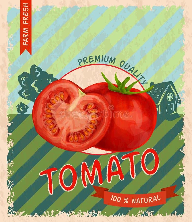 Tomato retro poster vector illustration