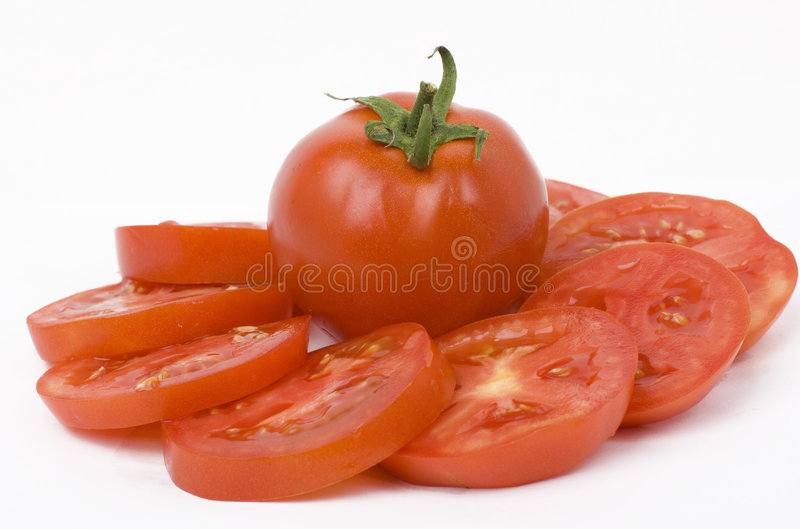 Tomato salad. On white background royalty free stock photos