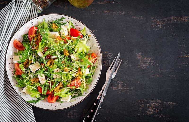 Tomato salad with mix micro greens and camembert cheese. royalty free stock photo
