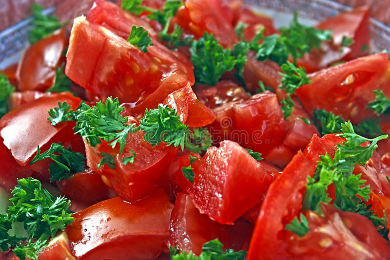 Tomato Salad With Parsley Royalty Free Stock Image