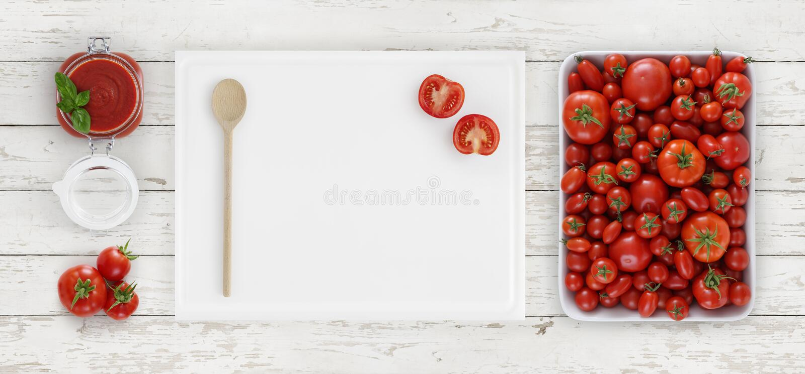 Tomato sauce above, cutting board with spoon, glass jar and tomatoes isolated on white wooden kitchen worktop background, copy sp. Ace, top view stock image