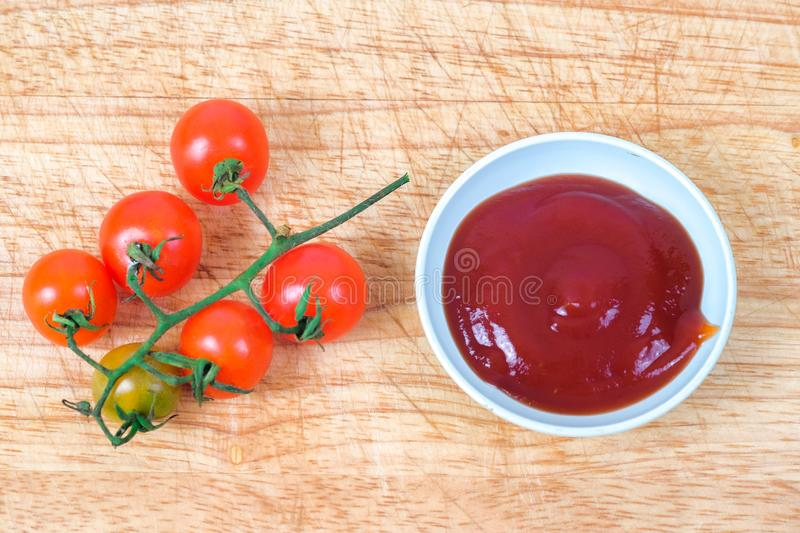 Tomato sauce with fresh Small Tomato ,food for health royalty free stock image